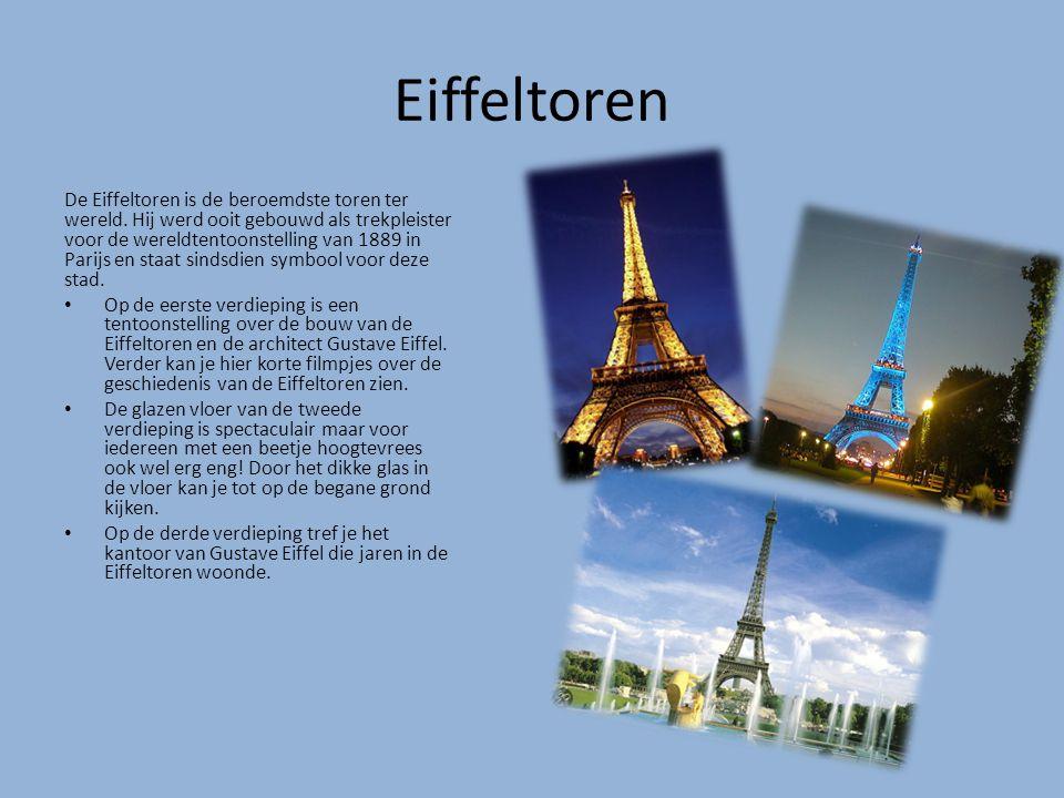 Eiffeltoren De Eiffeltoren is de beroemdste toren ter wereld. Hij werd ooit gebouwd als trekpleister voor de wereldtentoonstelling van 1889 in Parijs
