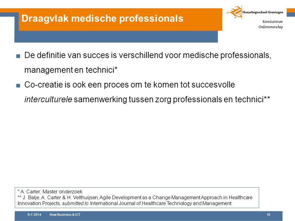 9-7-2014New Business & ICT10 Draagvlak medische professionals ■De definitie van succes is verschillend voor medische professionals, management en tech