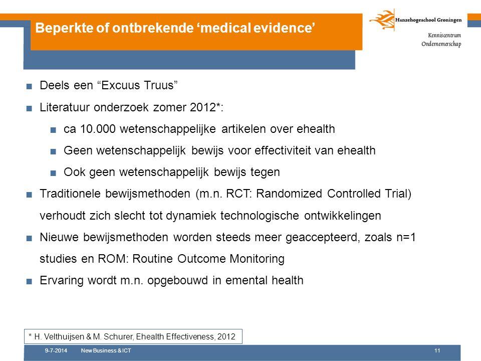 """9-7-2014New Business & ICT11 Beperkte of ontbrekende 'medical evidence' ■Deels een """"Excuus Truus"""" ■Literatuur onderzoek zomer 2012*: ■ca 10.000 wetens"""
