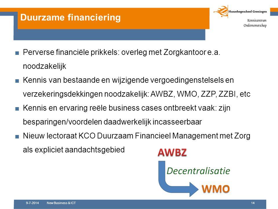 9-7-2014New Business & ICT14 Duurzame financiering ■Perverse financiële prikkels: overleg met Zorgkantoor e.a. noodzakelijk ■Kennis van bestaande en w