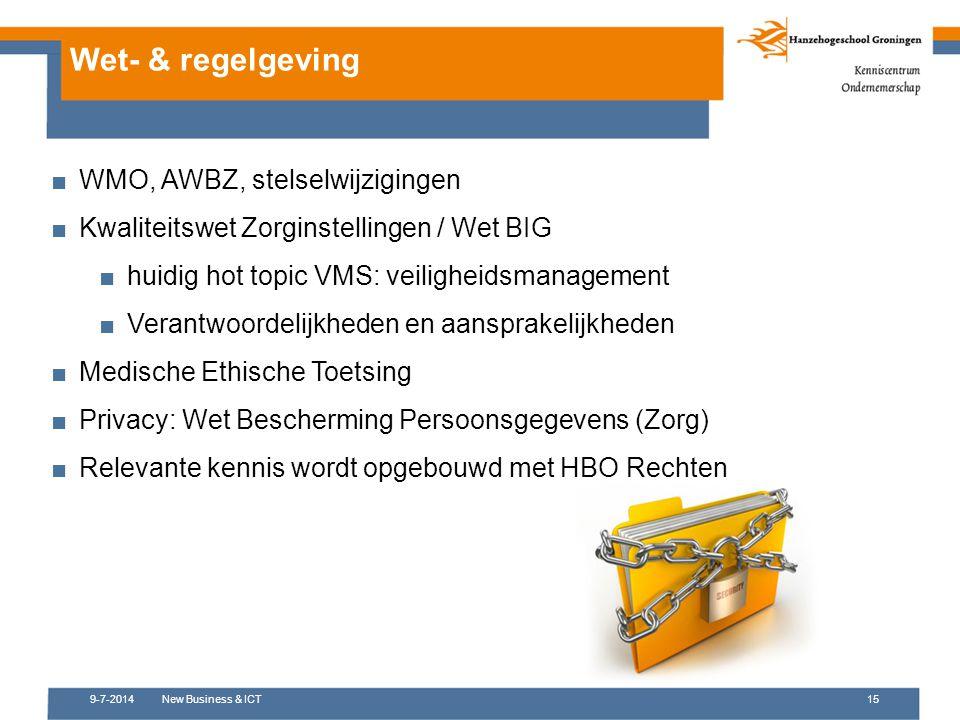 9-7-2014New Business & ICT15 Wet- & regelgeving ■WMO, AWBZ, stelselwijzigingen ■Kwaliteitswet Zorginstellingen / Wet BIG ■huidig hot topic VMS: veilig