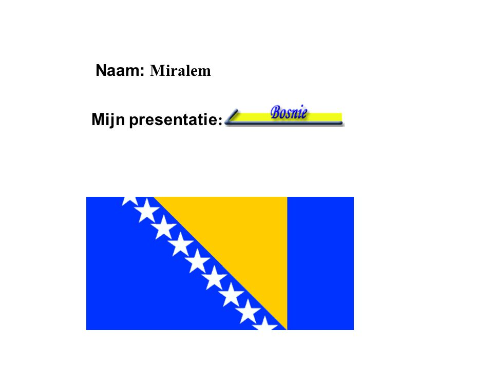 """Naam: Miralem Mijn presentatie : Klik op """"Naam"""". Vul je naam in. Doe hetzelfde met """"hobby"""" Hier kun je een foto / tekening Invoegen"""