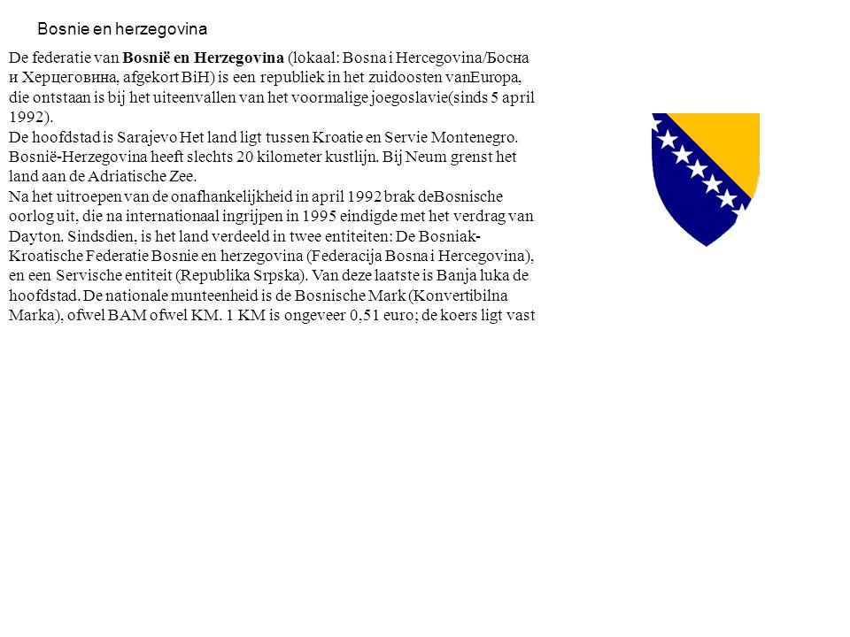 De federatie van Bosnië en Herzegovina (lokaal: Bosna i Hercegovina/Босна и Херцеговина, afgekort BiH) is een republiek in het zuidoosten vanEuropa, d