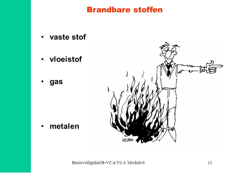Basisveiligehid B-VCA V0.4 Module 611 Brandbare stoffen vaste stof vloeistof gas metalen