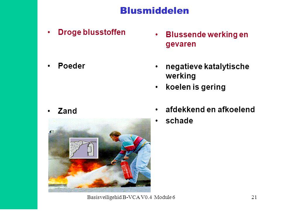 Basisveiligehid B-VCA V0.4 Module 621 Blusmiddelen Droge blusstoffen Poeder Zand Blussende werking en gevaren negatieve katalytische werking koelen is gering afdekkend en afkoelend schade