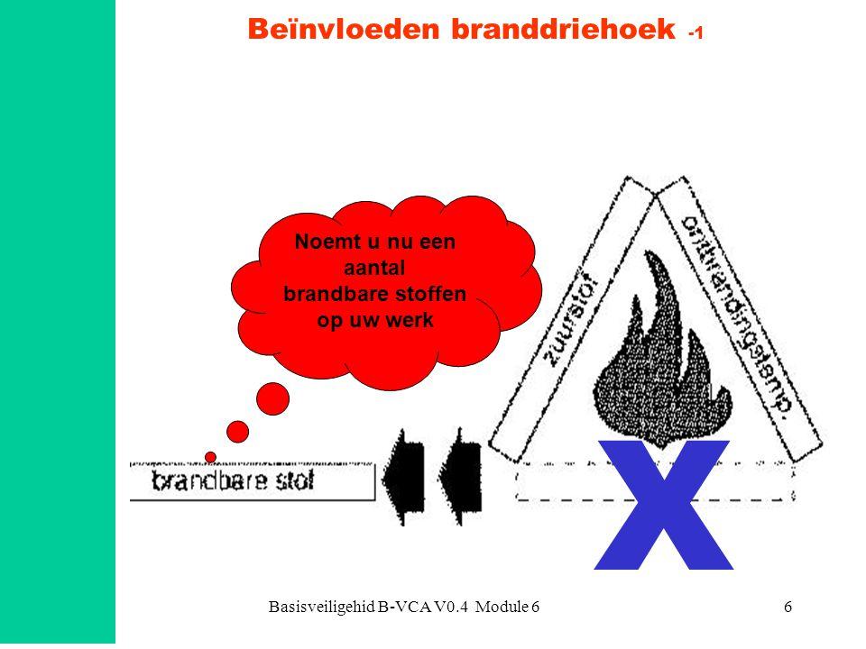 Basisveiligehid B-VCA V0.4 Module 617 Explosiegrensen GAS (mengsel) LUCHT % lucht = 0 bovenexplosiegrens Geen explosie mogelijk, het mengsel is te rijk % zuurstof praktisch nul EXGPELBOISEIDEEXGPELBOISEIDE onderexplosiegrens LUCHT (mengsel) GAS Geen explosie mogelijk het mengsel is te arm % zuurstof ca.