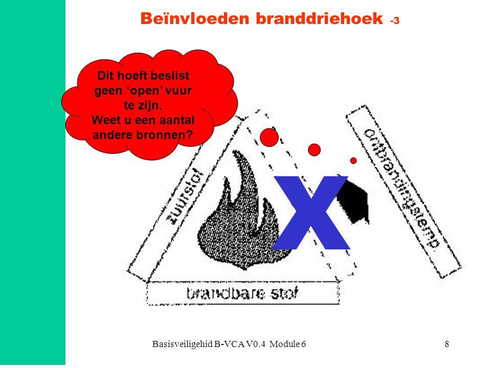 Basisveiligehid B-VCA V0.4 Module 619 Blusmiddelen Algemene werkingen: zuurstofverdringing/verstikking afkoeling negatieve katalyse Verschijningsvormen natte blusstoffen droge blusstoffen gasvormige blusstoffen