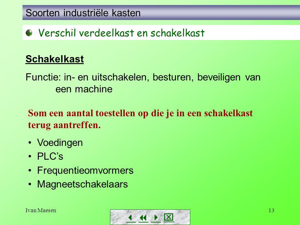 Ivan Maesen13        Soorten industriële kasten Verschil verdeelkast en schakelkast Schakelkast Functie: in- en uitschakelen, besturen, beveil