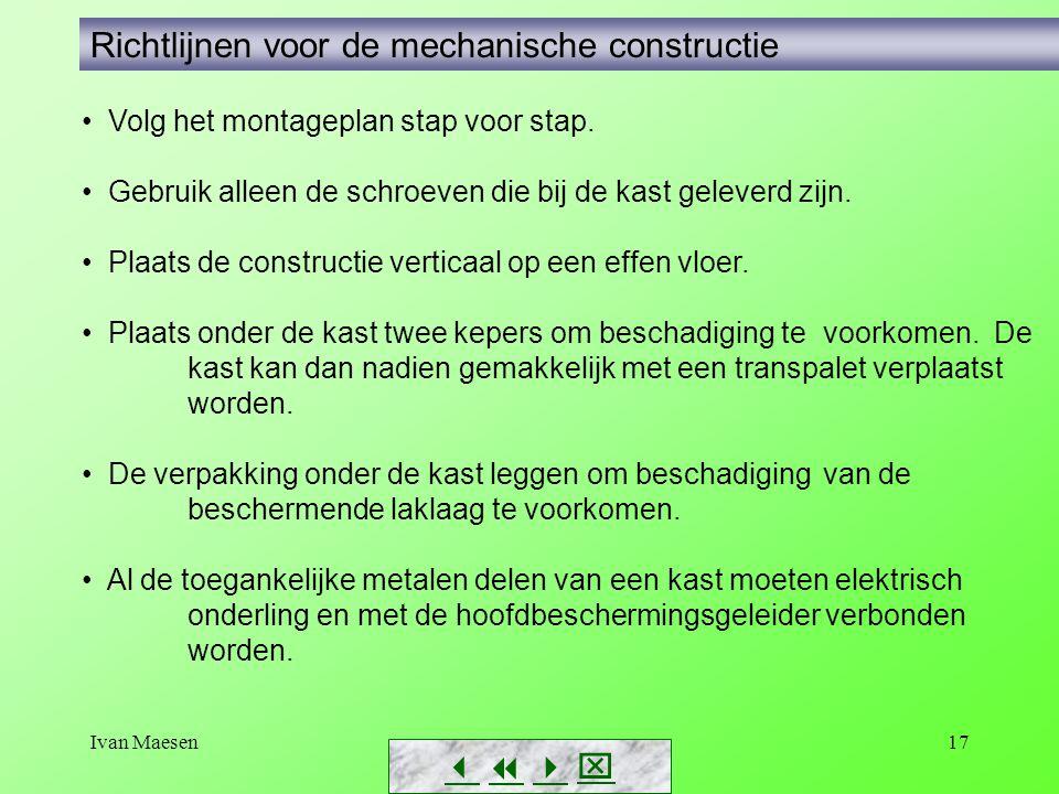 Ivan Maesen17        Richtlijnen voor de mechanische constructie Volg het montageplan stap voor stap. Gebruik alleen de schroeven die bij de k