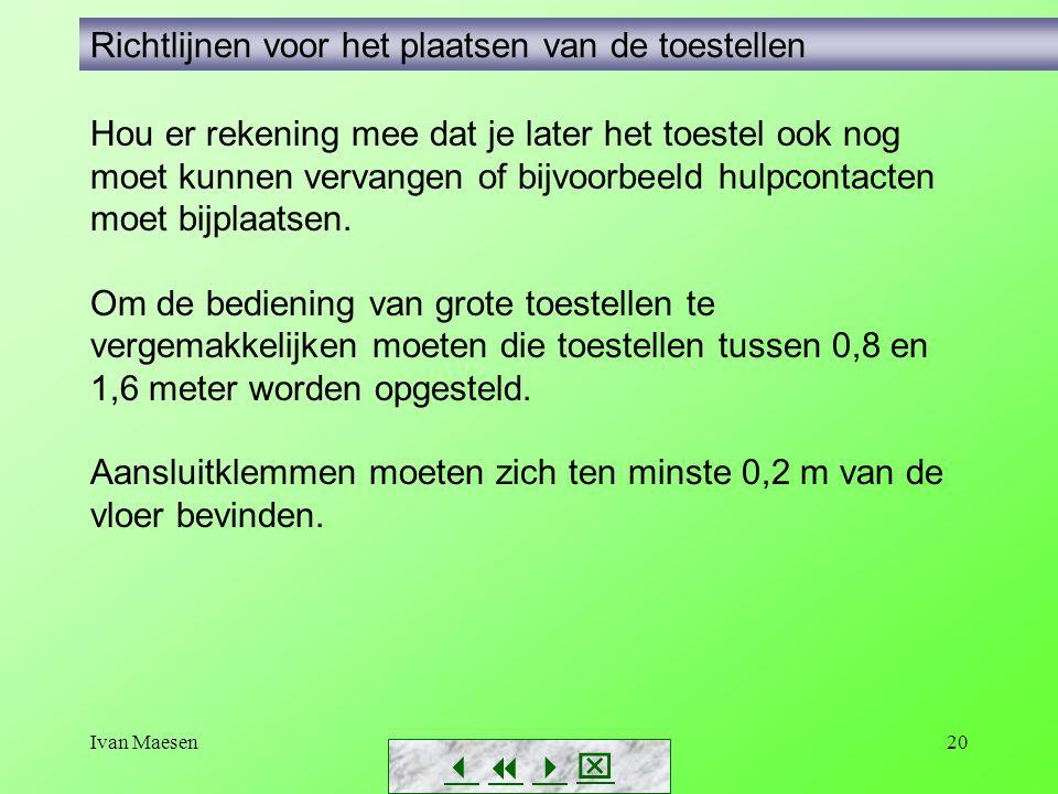 Ivan Maesen20        Richtlijnen voor het plaatsen van de toestellen Hou er rekening mee dat je later het toestel ook nog moet kunnen vervange