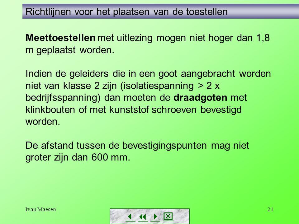 Ivan Maesen21        Richtlijnen voor het plaatsen van de toestellen Meettoestellen met uitlezing mogen niet hoger dan 1,8 m geplaatst worden.