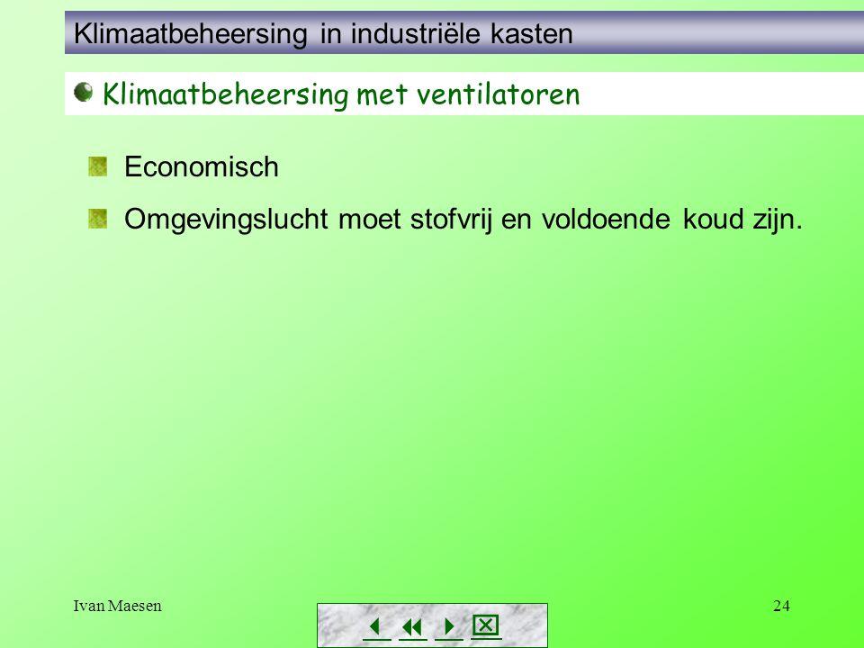 Ivan Maesen24        Klimaatbeheersing met ventilatoren Economisch Omgevingslucht moet stofvrij en voldoende koud zijn. Klimaatbeheersing in i