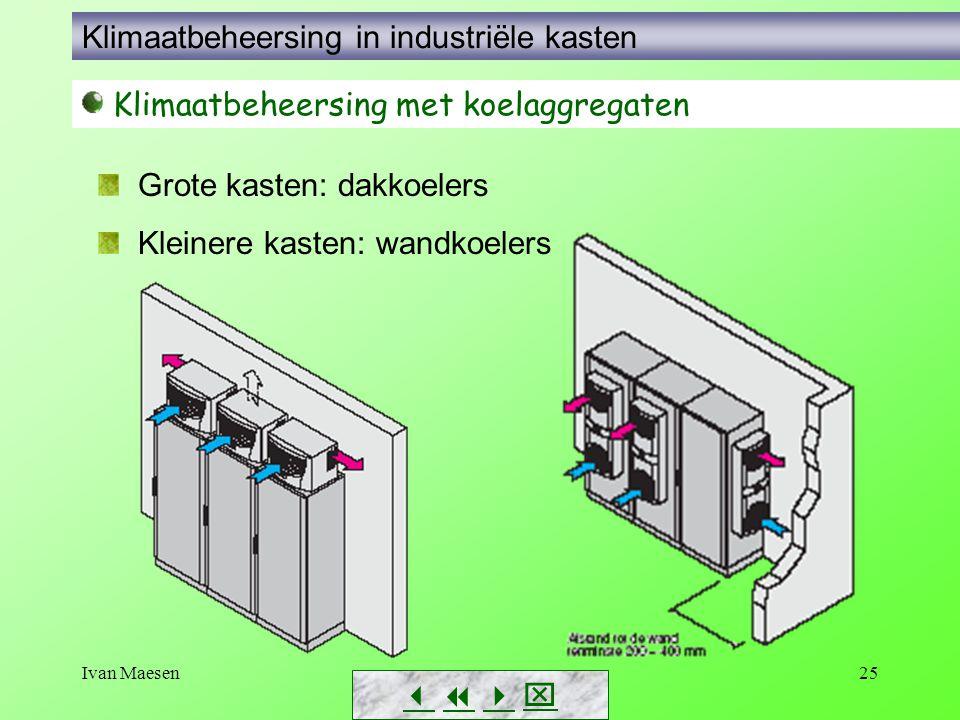 Ivan Maesen25        Klimaatbeheersing met koelaggregaten Grote kasten: dakkoelers Kleinere kasten: wandkoelers Klimaatbeheersing in industrië