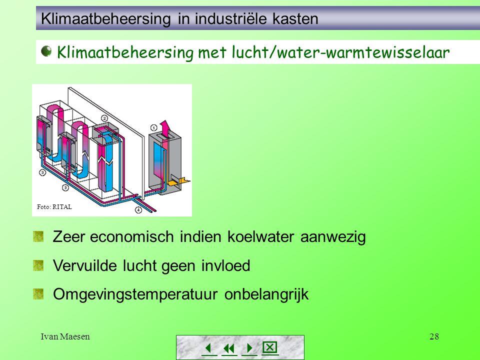 Ivan Maesen28        Klimaatbeheersing met lucht/water-warmtewisselaar Foto: RITAL Zeer economisch indien koelwater aanwezig Vervuilde lucht g
