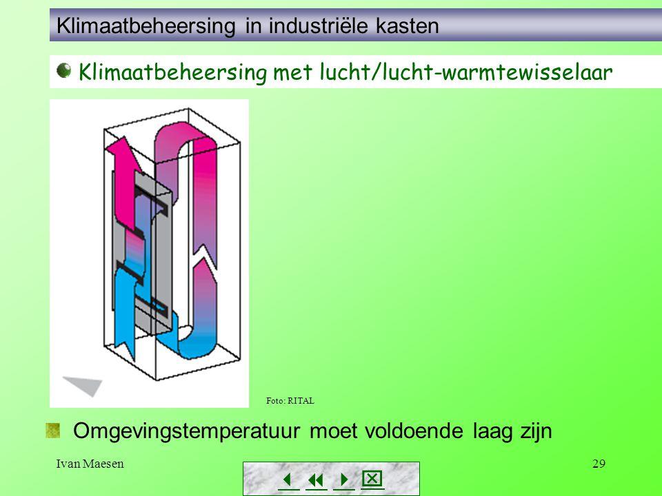Ivan Maesen29        Klimaatbeheersing met lucht/lucht-warmtewisselaar Foto: RITAL Omgevingstemperatuur moet voldoende laag zijn Klimaatbeheer