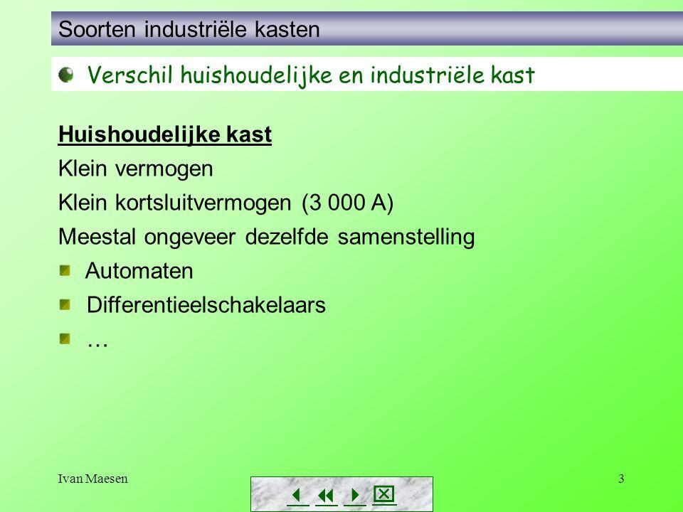 Ivan Maesen3        Soorten industriële kasten Verschil huishoudelijke en industriële kast Huishoudelijke kast Klein vermogen Klein kortsluitv