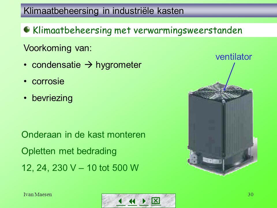 Ivan Maesen30        Klimaatbeheersing met verwarmingsweerstanden Voorkoming van: condensatie  hygrometer corrosie bevriezing Onderaan in de