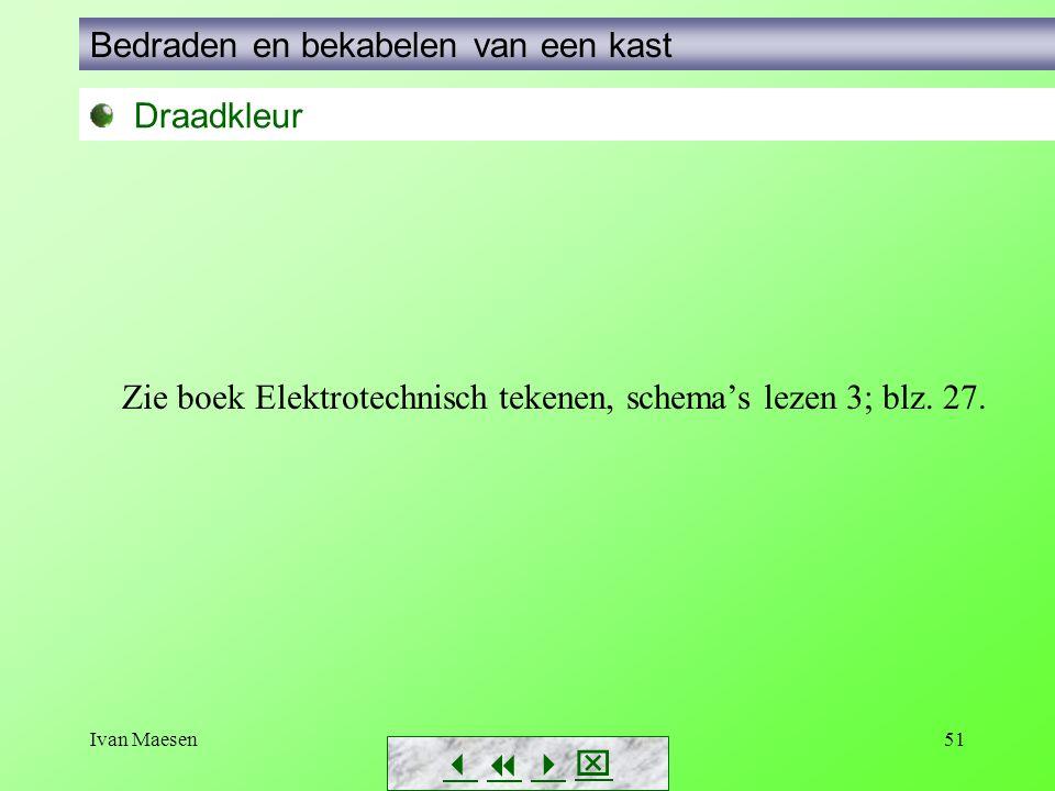 Ivan Maesen51        Draadkleur Bedraden en bekabelen van een kast Zie boek Elektrotechnisch tekenen, schema's lezen 3; blz. 27.