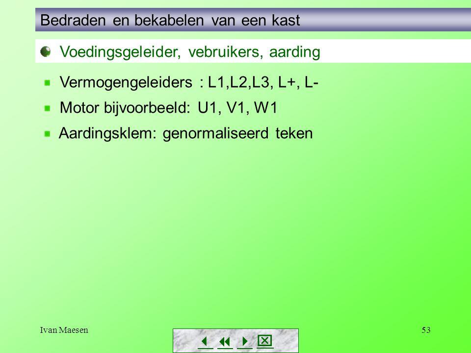 Ivan Maesen53        Voedingsgeleider, vebruikers, aarding Bedraden en bekabelen van een kast Vermogengeleiders : L1,L2,L3, L+, L- Motor bijvo