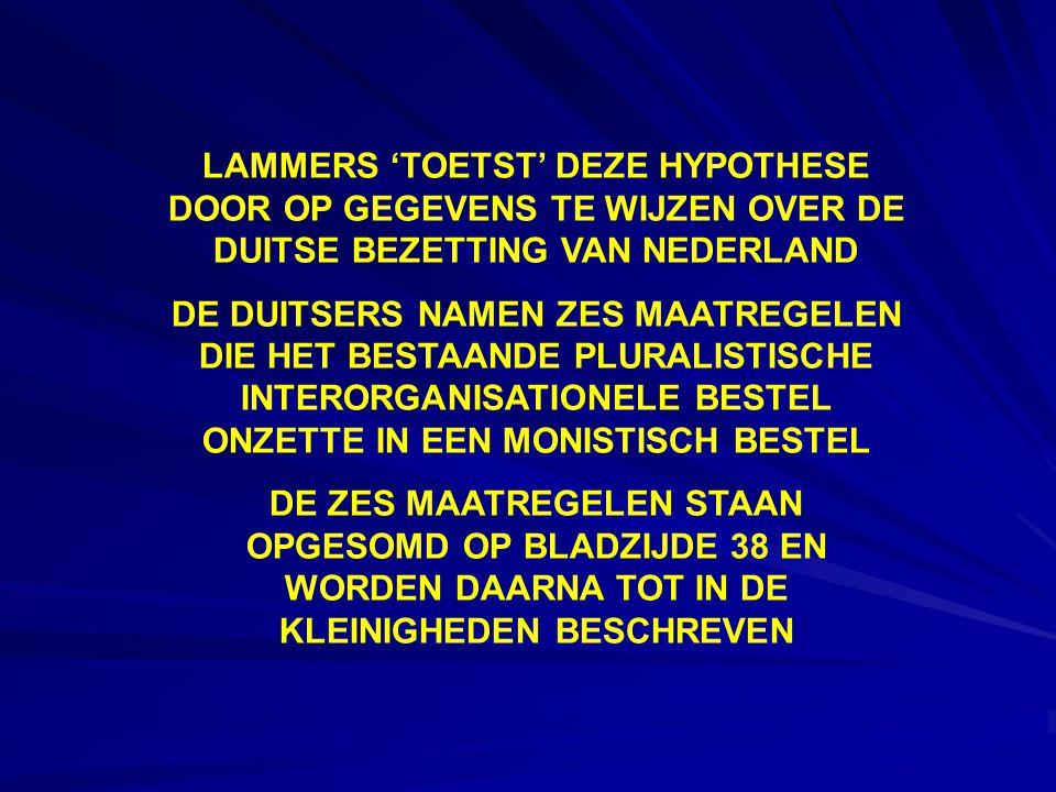 LAMMERS 'TOETST' DEZE HYPOTHESE DOOR OP GEGEVENS TE WIJZEN OVER DE DUITSE BEZETTING VAN NEDERLAND DE DUITSERS NAMEN ZES MAATREGELEN DIE HET BESTAANDE PLURALISTISCHE INTERORGANISATIONELE BESTEL ONZETTE IN EEN MONISTISCH BESTEL DE ZES MAATREGELEN STAAN OPGESOMD OP BLADZIJDE 38 EN WORDEN DAARNA TOT IN DE KLEINIGHEDEN BESCHREVEN