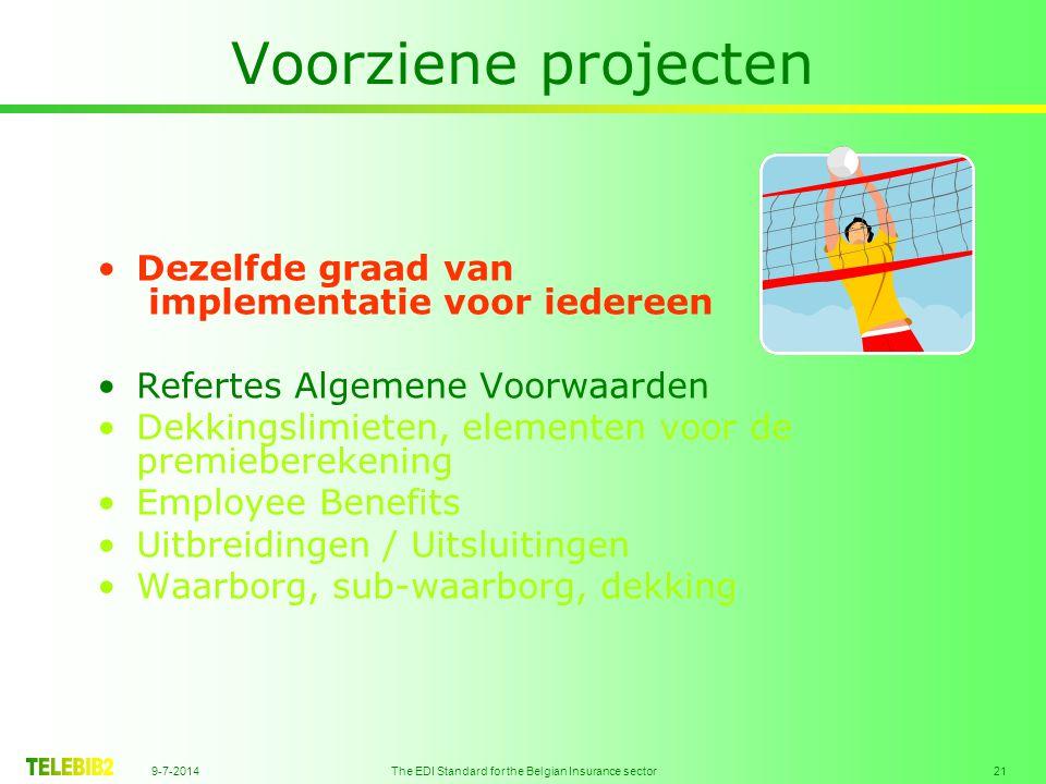 9-7-2014 The EDI Standard for the Belgian Insurance sector 21 Voorziene projecten Dezelfde graad van implementatie voor iedereen Refertes Algemene Voorwaarden Dekkingslimieten, elementen voor de premieberekening Employee Benefits Uitbreidingen / Uitsluitingen Waarborg, sub-waarborg, dekking