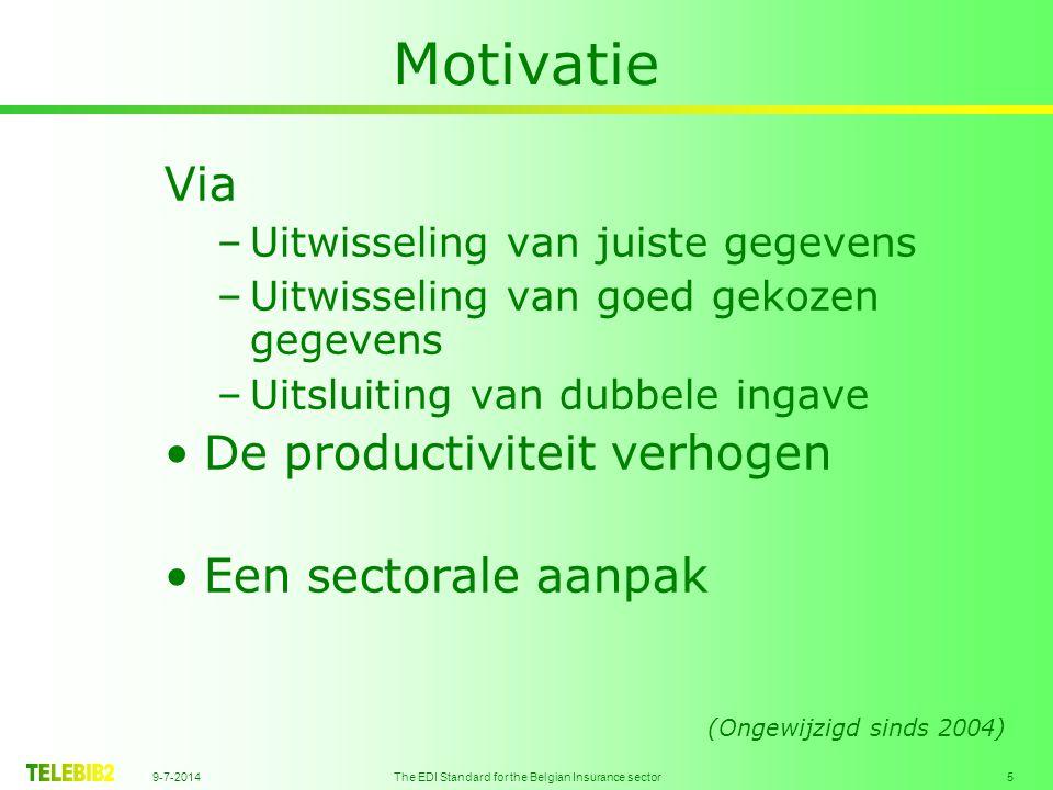 9-7-2014 The EDI Standard for the Belgian Insurance sector 6 Organisatie GOC / CMS Standardization Working Party Software suppliers Projectgroup (Ongewijzigd sinds 2004)