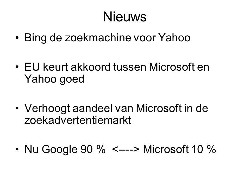 Nieuws Bing de zoekmachine voor Yahoo EU keurt akkoord tussen Microsoft en Yahoo goed Verhoogt aandeel van Microsoft in de zoekadvertentiemarkt Nu Goo
