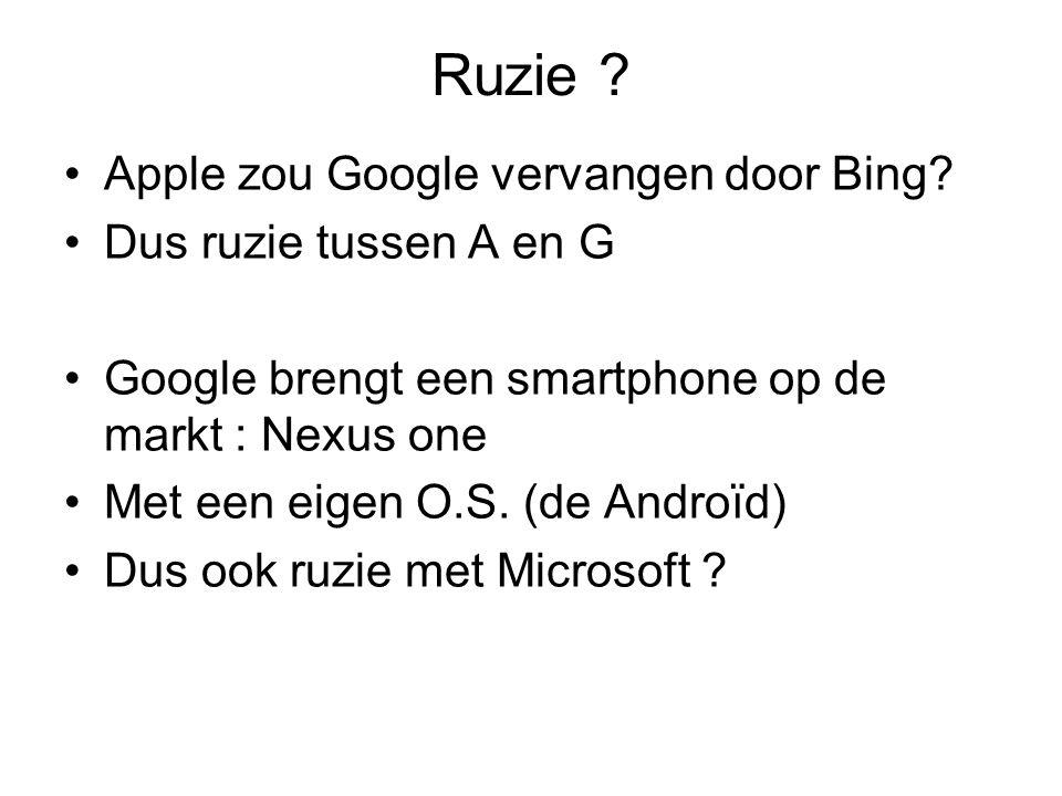 Ruzie ? Apple zou Google vervangen door Bing? Dus ruzie tussen A en G Google brengt een smartphone op de markt : Nexus one Met een eigen O.S. (de Andr