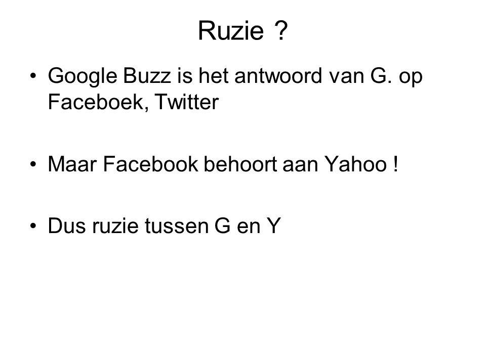 Ruzie ? Google Buzz is het antwoord van G. op Faceboek, Twitter Maar Facebook behoort aan Yahoo ! Dus ruzie tussen G en Y
