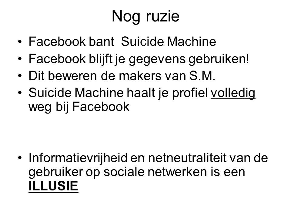 Nog ruzie Facebook bant Suicide Machine Facebook blijft je gegevens gebruiken! Dit beweren de makers van S.M. Suicide Machine haalt je profiel volledi