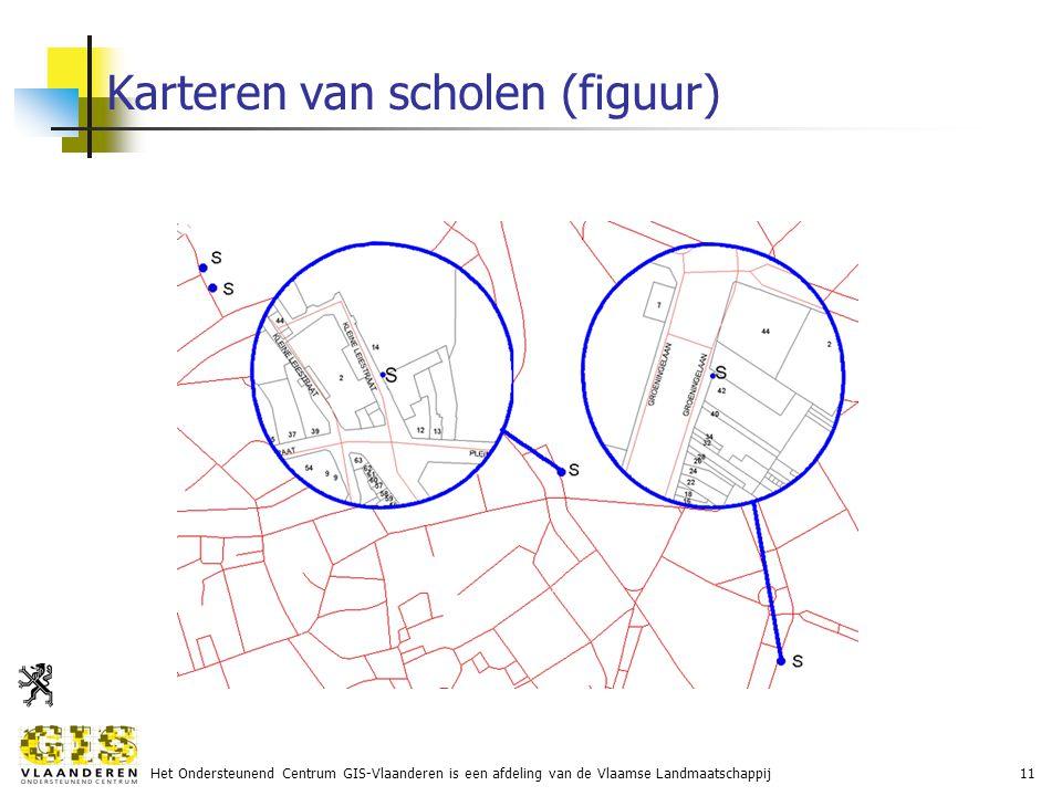 Het Ondersteunend Centrum GIS-Vlaanderen is een afdeling van de Vlaamse Landmaatschappij11 Karteren van scholen (figuur)