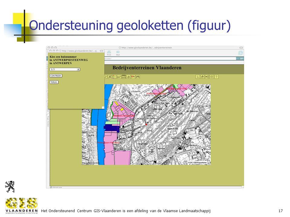 Het Ondersteunend Centrum GIS-Vlaanderen is een afdeling van de Vlaamse Landmaatschappij17 Ondersteuning geoloketten (figuur)