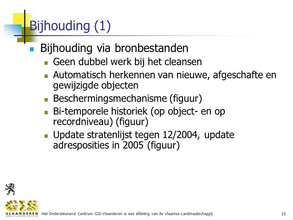 Het Ondersteunend Centrum GIS-Vlaanderen is een afdeling van de Vlaamse Landmaatschappij19 Bijhouding (1) Bijhouding via bronbestanden Geen dubbel werk bij het cleansen Automatisch herkennen van nieuwe, afgeschafte en gewijzigde objecten Beschermingsmechanisme (figuur) Bi-temporele historiek (op object- en op recordniveau) (figuur) Update stratenlijst tegen 12/2004, update adresposities in 2005 (figuur)