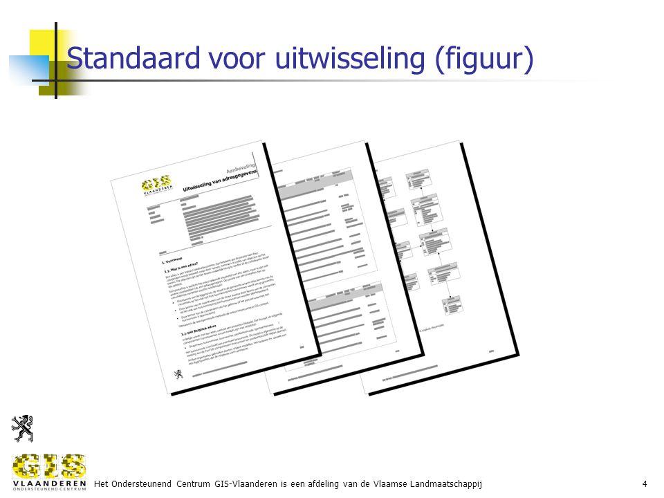 Het Ondersteunend Centrum GIS-Vlaanderen is een afdeling van de Vlaamse Landmaatschappij4 Standaard voor uitwisseling (figuur)