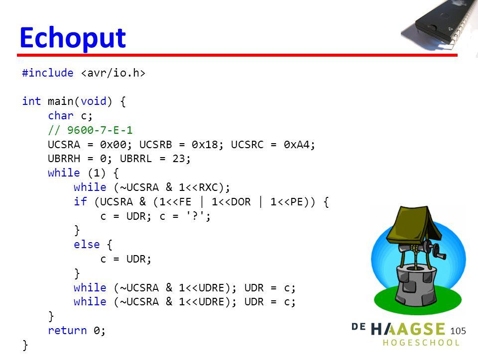 #include int main(void) { char c; // 9600-7-E-1 UCSRA = 0x00; UCSRB = 0x18; UCSRC = 0xA4; UBRRH = 0; UBRRL = 23; while (1) { while (~UCSRA & 1<<RXC);