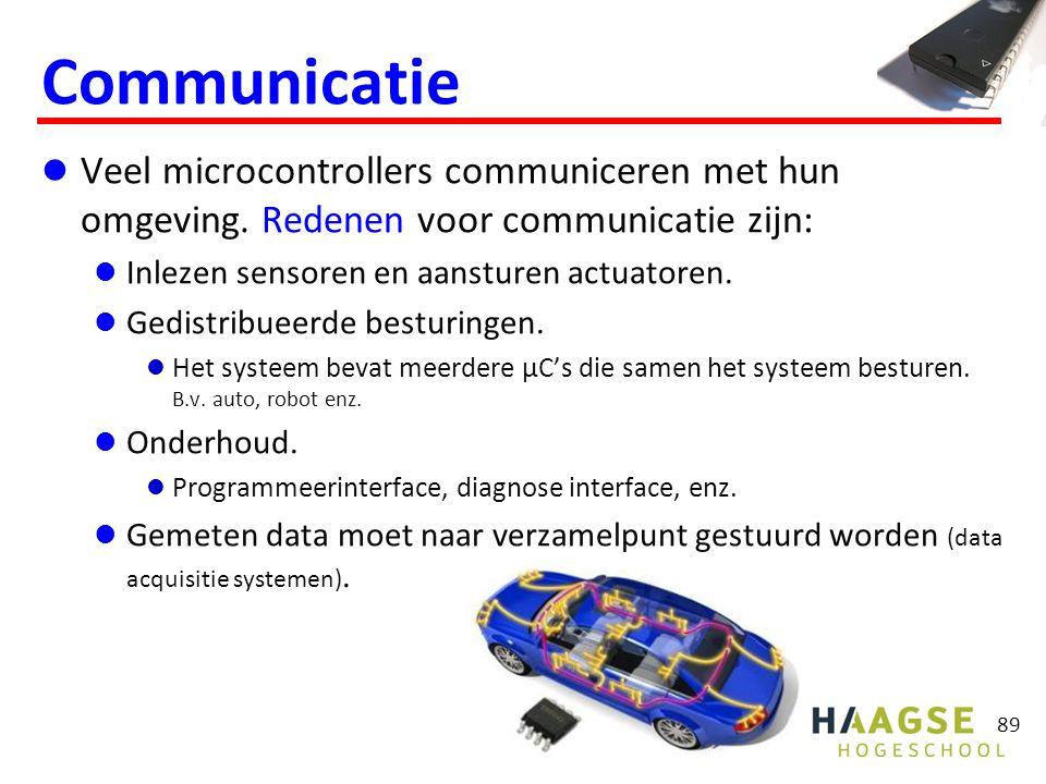 89 Communicatie Veel microcontrollers communiceren met hun omgeving. Redenen voor communicatie zijn: Inlezen sensoren en aansturen actuatoren. Gedistr