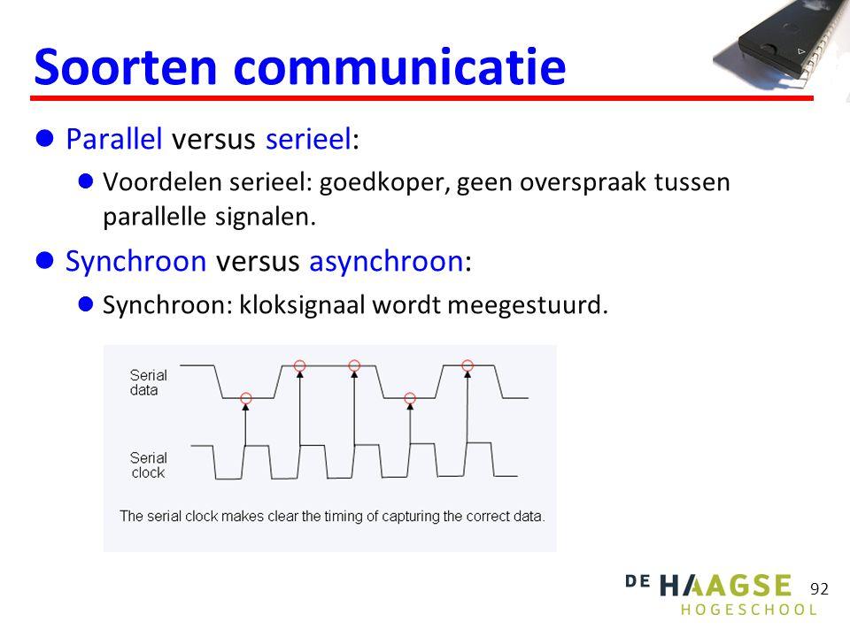 92 Soorten communicatie Parallel versus serieel: Voordelen serieel: goedkoper, geen overspraak tussen parallelle signalen. Synchroon versus asynchroon