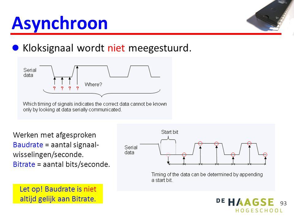 93 Asynchroon Kloksignaal wordt niet meegestuurd. Werken met afgesproken Baudrate = aantal signaal- wisselingen/seconde. Bitrate = aantal bits/seconde