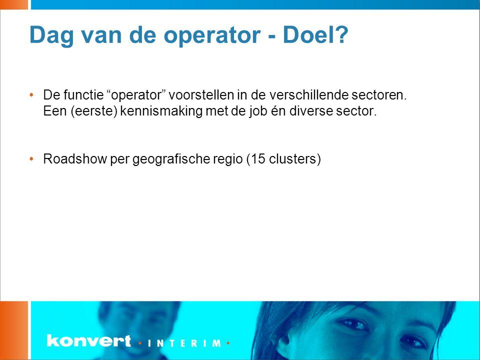 """Dag van de operator - Doel? De functie """"operator"""" voorstellen in de verschillende sectoren. Een (eerste) kennismaking met de job én diverse sector. Ro"""