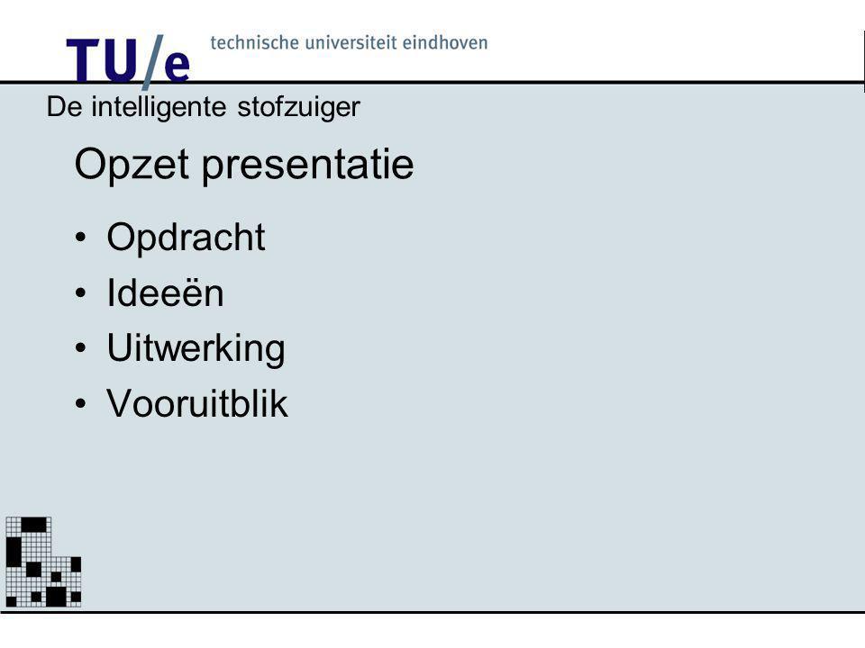 Opzet presentatie Opdracht Ideeën Uitwerking Vooruitblik De intelligente stofzuiger