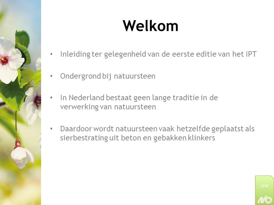 Welkom Inleiding ter gelegenheid van de eerste editie van het IPT Ondergrond bij natuursteen In Nederland bestaat geen lange traditie in de verwerking