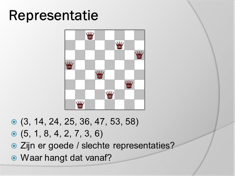 Representatie  (3, 14, 24, 25, 36, 47, 53, 58)  (5, 1, 8, 4, 2, 7, 3, 6)  Zijn er goede / slechte representaties?  Waar hangt dat vanaf?