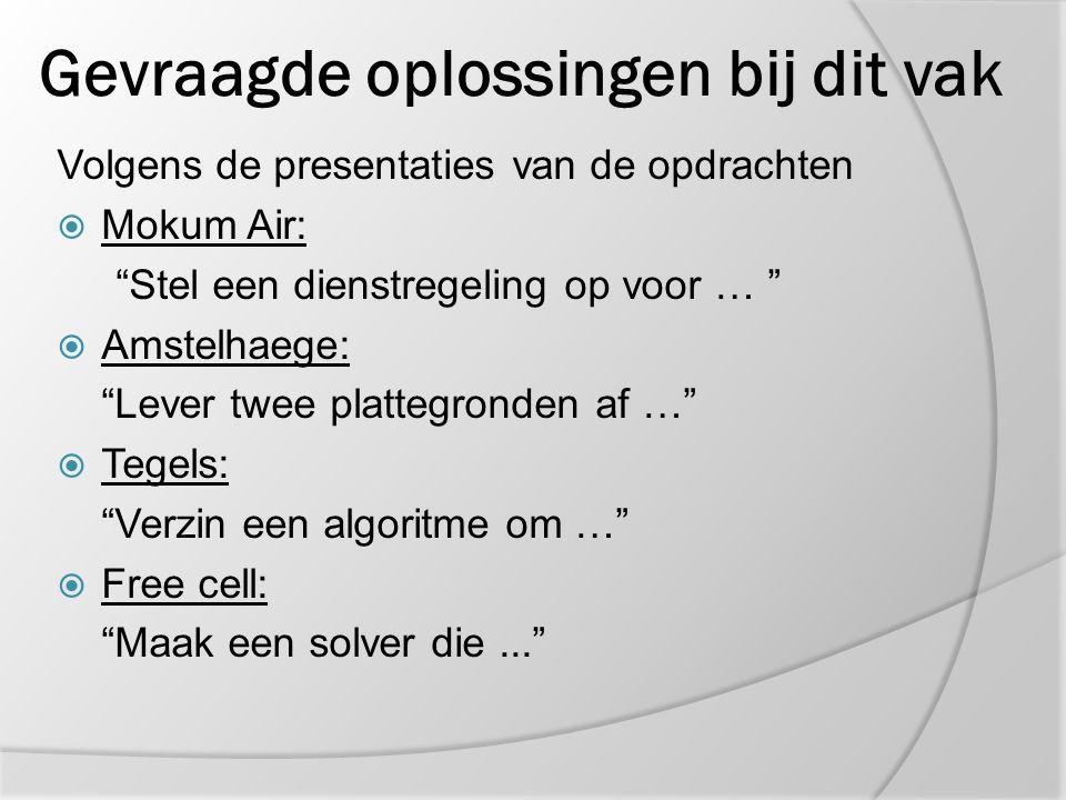 """Gevraagde oplossingen bij dit vak Volgens de presentaties van de opdrachten  Mokum Air: """"Stel een dienstregeling op voor … """"  Amstelhaege: """"Lever tw"""