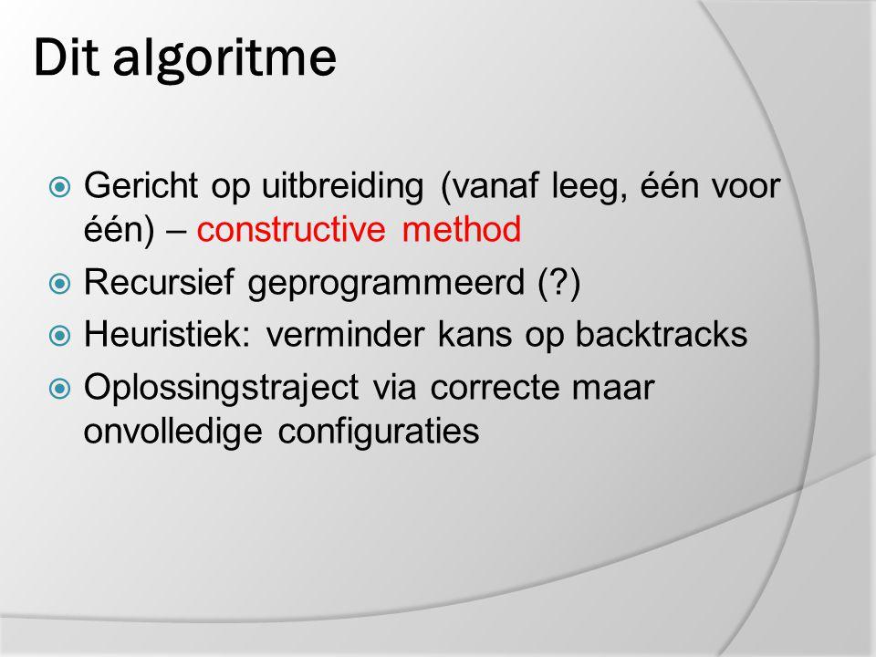 Dit algoritme  Gericht op uitbreiding (vanaf leeg, één voor één) – constructive method  Recursief geprogrammeerd (?)  Heuristiek: verminder kans op
