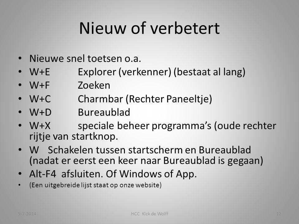Nieuw of verbetert Nieuwe snel toetsen o.a.