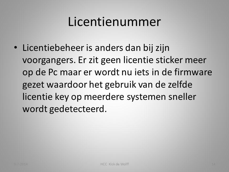 Licentienummer Licentiebeheer is anders dan bij zijn voorgangers.