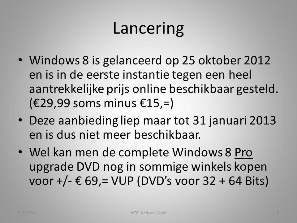Lancering Windows 8 is gelanceerd op 25 oktober 2012 en is in de eerste instantie tegen een heel aantrekkelijke prijs online beschikbaar gesteld.