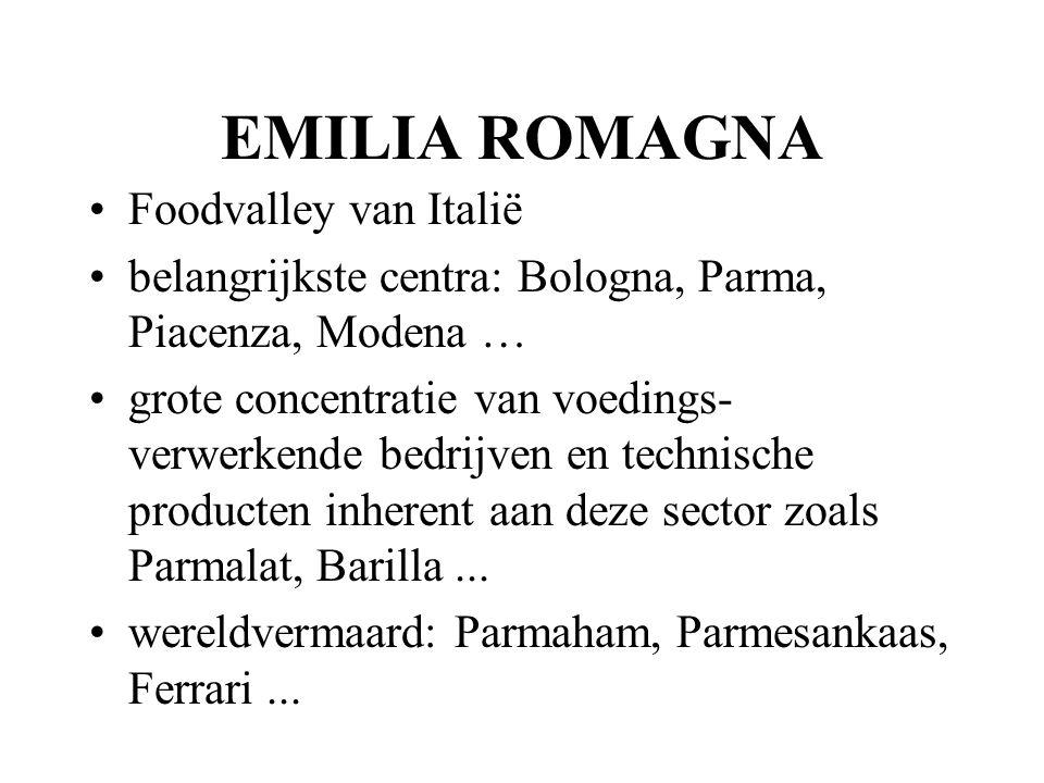 EMILIA ROMAGNA Foodvalley van Italië belangrijkste centra: Bologna, Parma, Piacenza, Modena … grote concentratie van voedings- verwerkende bedrijven en technische producten inherent aan deze sector zoals Parmalat, Barilla...