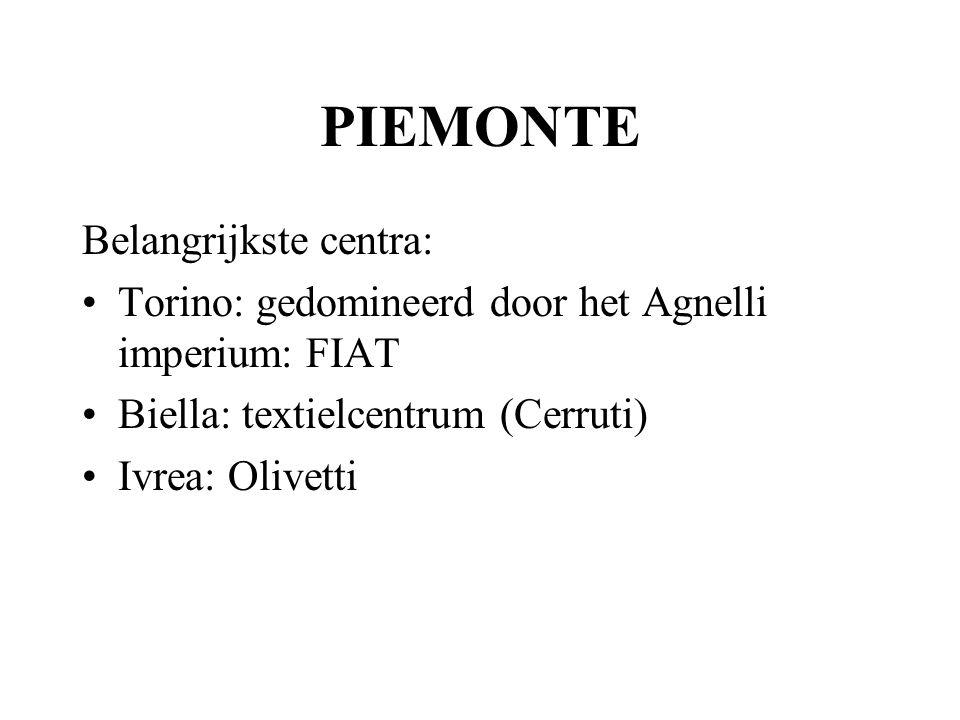 PIEMONTE Belangrijkste centra: Torino: gedomineerd door het Agnelli imperium: FIAT Biella: textielcentrum (Cerruti) Ivrea: Olivetti