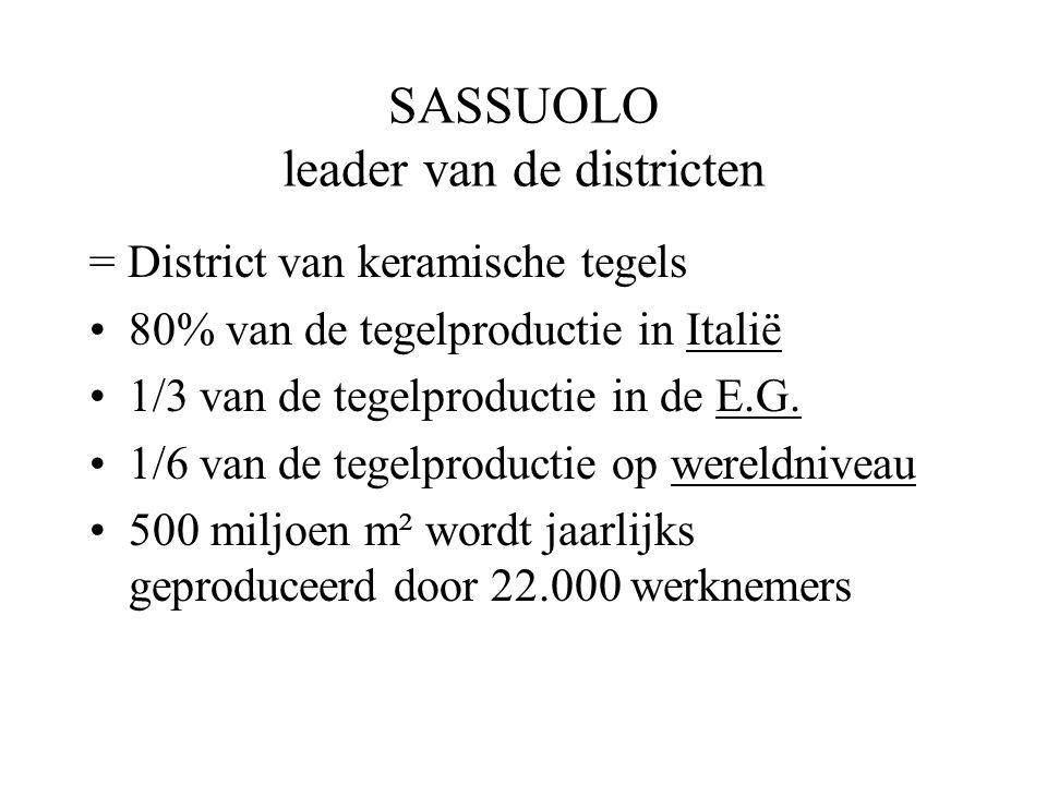 SASSUOLO leader van de districten = District van keramische tegels 80% van de tegelproductie in Italië 1/3 van de tegelproductie in de E.G.